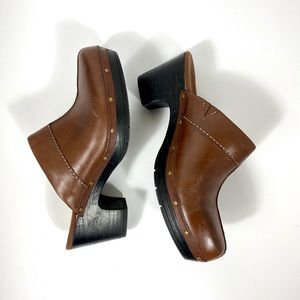 Clarks Leather Studded Clogs, 9.5